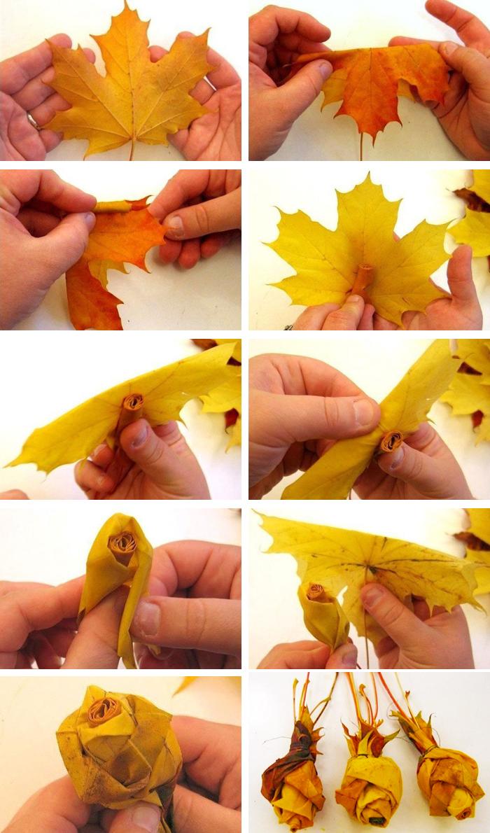 Как сделать из листьев розу фото 386